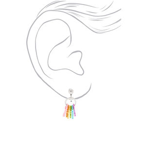 "1"" Rainbow Keys Clip On Drop Earrings,"