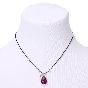 Stone Teardrop Pendant Necklace - Purple,