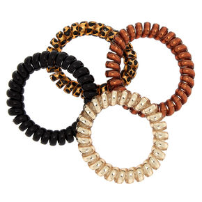 Metallic Leopard Spiral Hair Ties - 4 Pack,