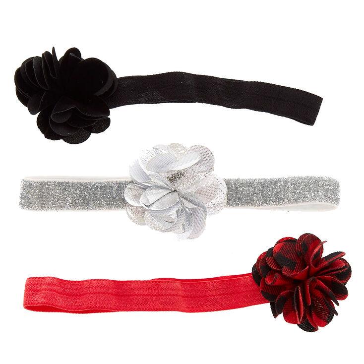 Lot de couronnes de fleurs noires, couleur argentés et en tissu écossais pour enfants,