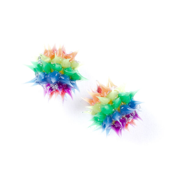 Claire's - sterling rainbow rave ball earrings - 1