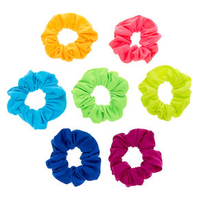 Small Neon Rainbow Hair Scrunchies - 7 Pack,