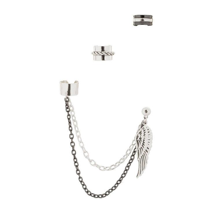 Ear Cuffs And Angel Wing Ball Stud Earrings Set