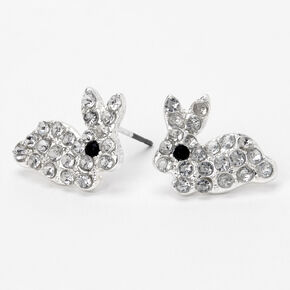 Silver Embellished Easter Bunny Stud Earrings,