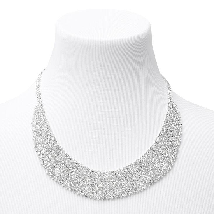 Collier de caractère plastron Cléopâtre avec strass couleur argentée,