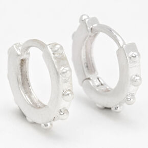 Silver 10MM Studded Huggie Hoop Earrings,