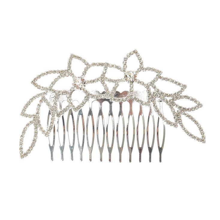 Silver Glass Rhinestone Floral Hair Comb,