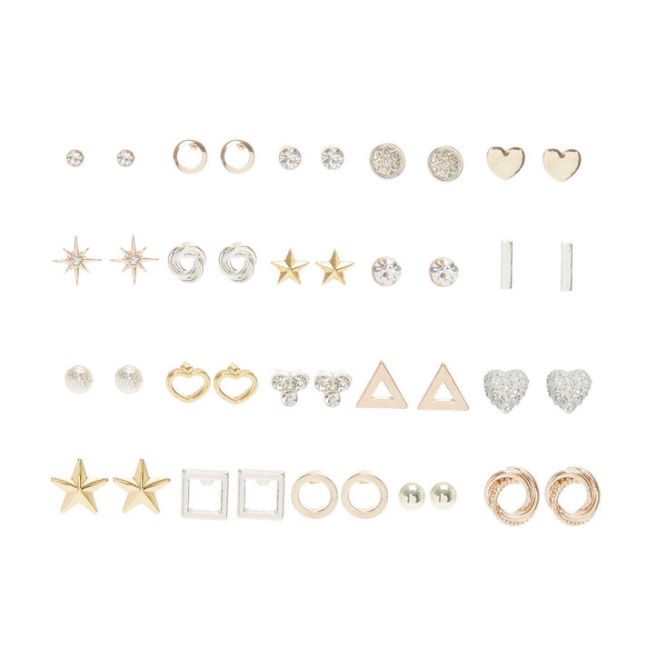 20 Pack Mixed Metal Stud Earring Set