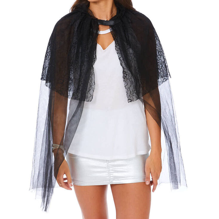 Lace Hooded Cape - Black,