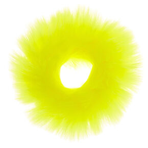 Medium Faux Fur Hair Scrunchie - Neon Yellow,