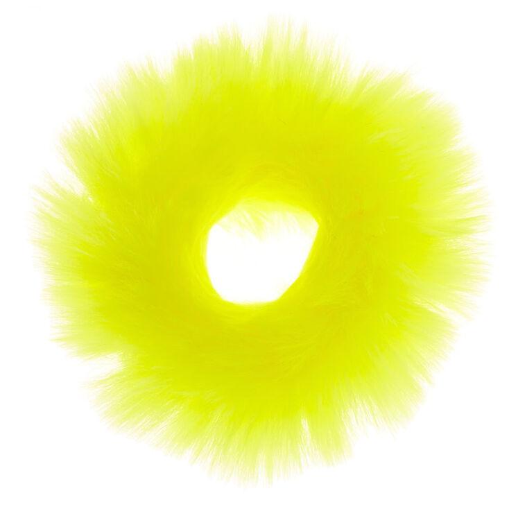 Medium Faux Fur Hair Scrunchie - Neon Yellow,