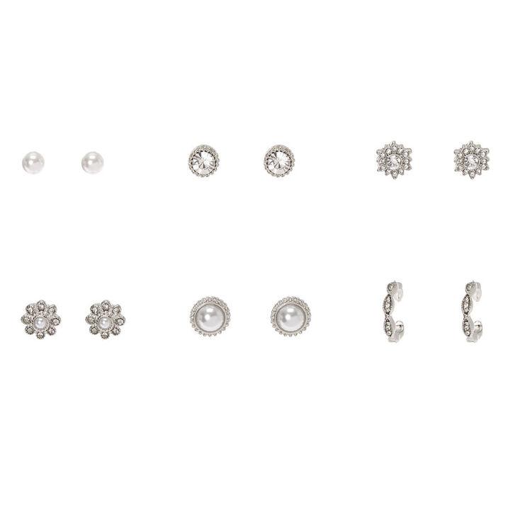 Silver Faux Pearl Fancy Stud Earrings - 6 Pack,