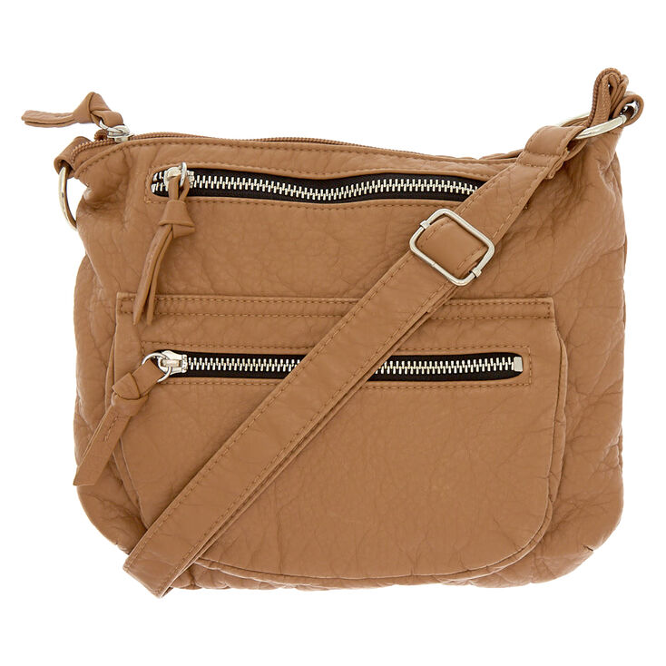 d6f2af9a9746 Faux Leather Crossbody Bag - Tan