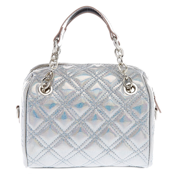 Holographic Quilted Mini Crossbody Duffle Bag  3c78524414
