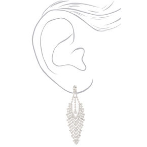 """Silver 2.5"""" Crystal Arrow Chandelier Clip On Drop Earrings,"""