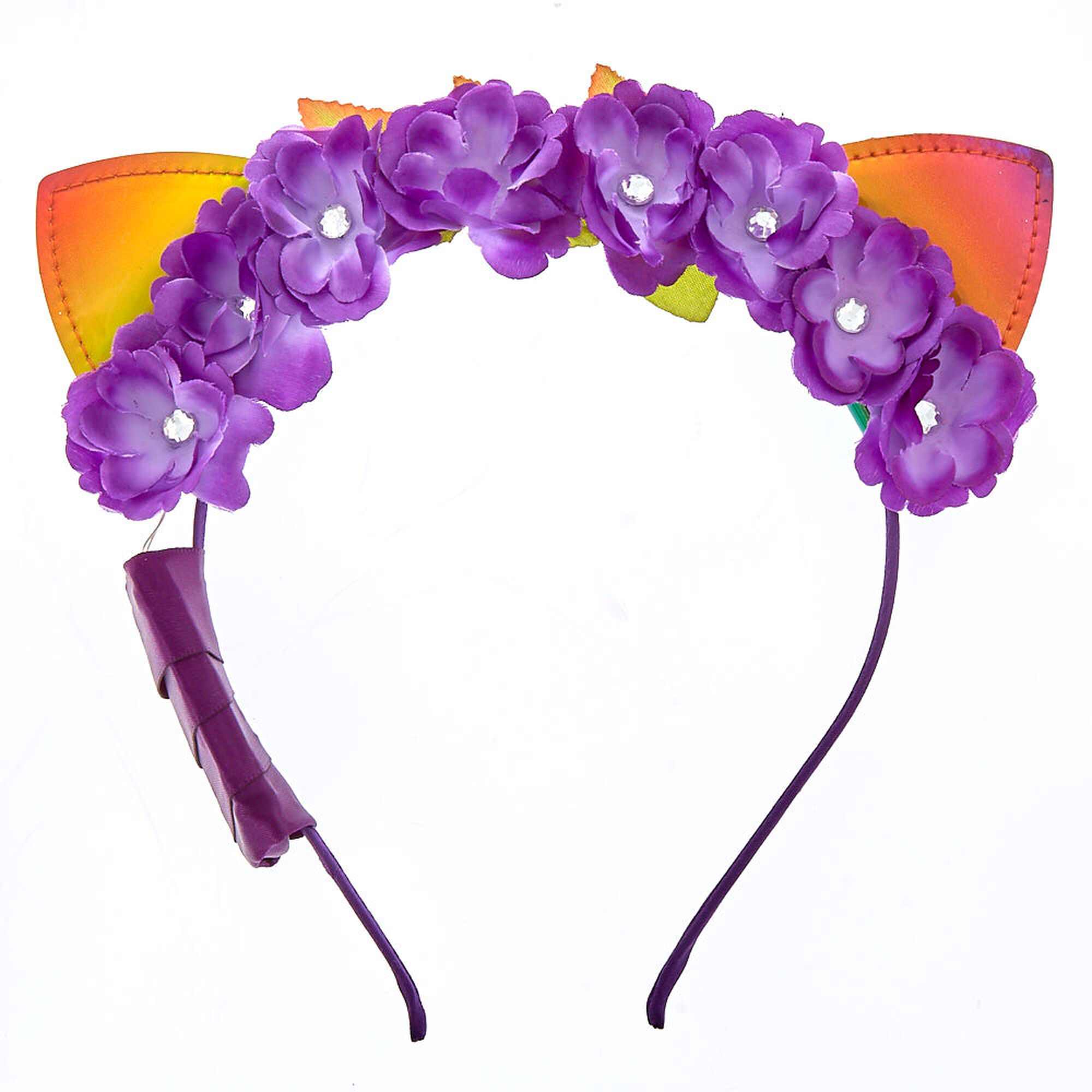 Light up anodized cat ears flower crown headband purple claires us light up anodized cat ears flower crown headband purple izmirmasajfo
