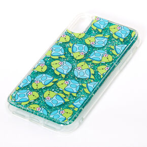 Tessa the Turtle Turquoise Glitter Liquid Fill Phone Case - Fits iPhone XR,