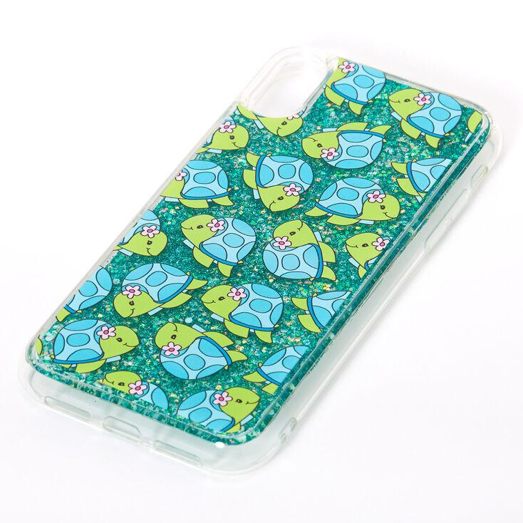 Tessa the Turtle Turquoise Glitter Liquid Fill Phone Case - Fits iPhone XR,