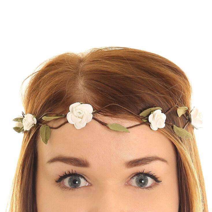 couronne de fleurs petites roses blanches claire 39 s fr. Black Bedroom Furniture Sets. Home Design Ideas