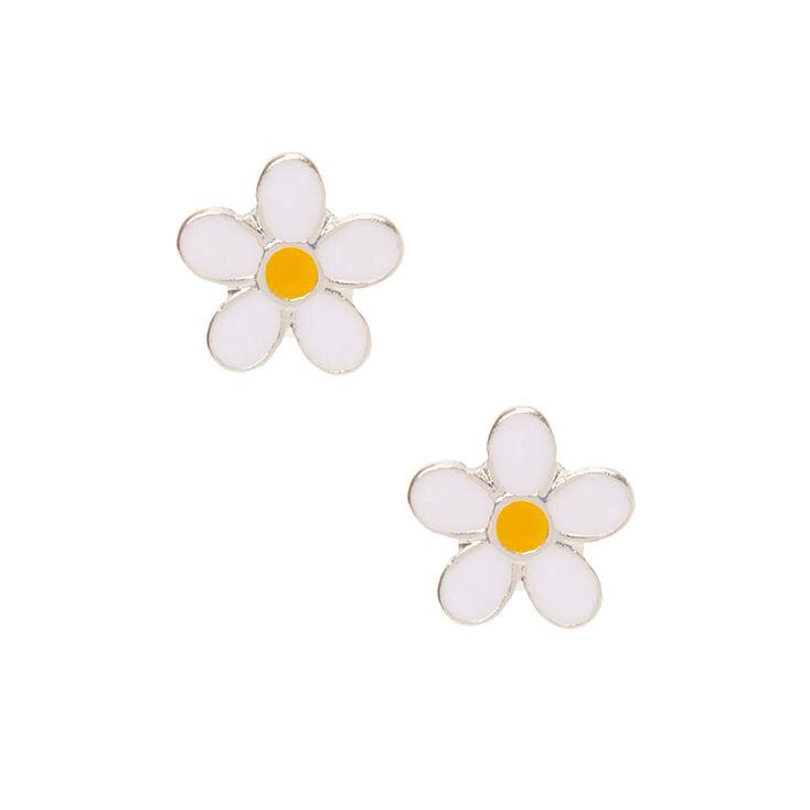 Daisy Stud Earrings - White,