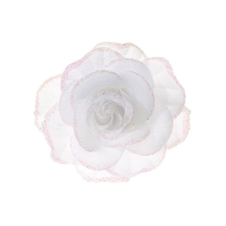 Glitter Rose Hair Clip White Claire S Us