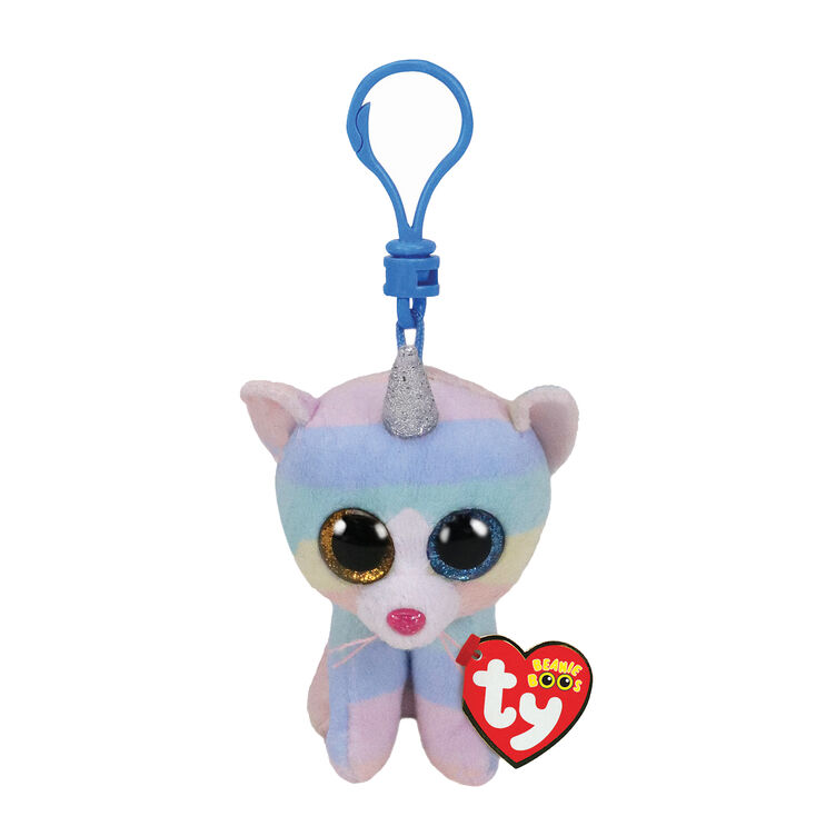 Ty Beanie Boo Heather the Unicorn Cat Keyring Clip,