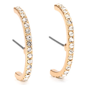 Gold Embellished Hook Stud Earrings,
