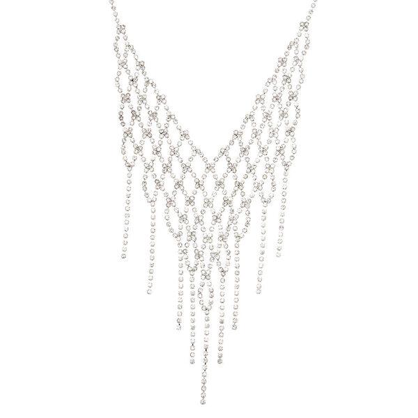 Claire's - rhinestone crochet fringe statement necklace - 1