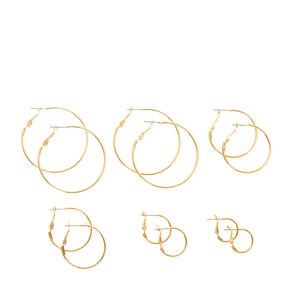 Gold Graduated Hoop Earrings - 6 Pack,