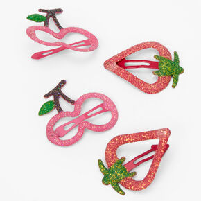 Claire's Club Glitter Fruit Snap Hair Clips - 4 Pack,