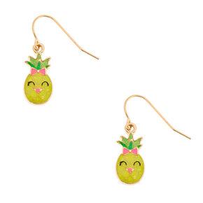 """Gold 0.5"""" Happy Pineapple Drop Earrings,"""
