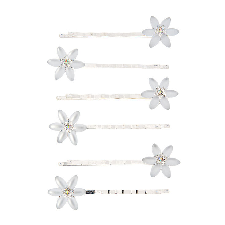 Frosted Flower Bobby Pins - 6 Pack,