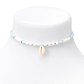 Silver Disc Cowrie Seashell Choker Necklace - Blue,