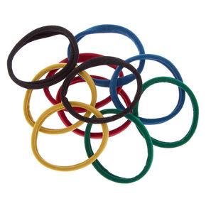 Solid Hair Ties - Blue, 10 Pack,