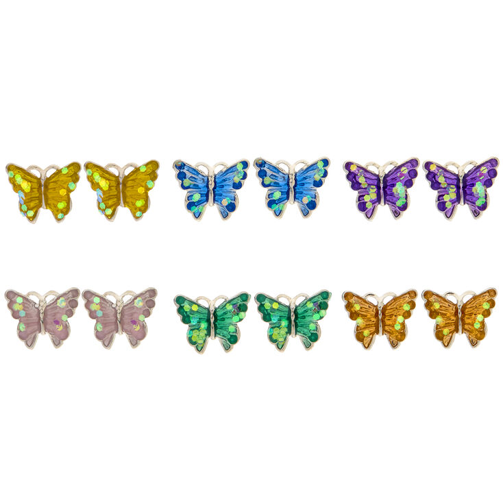 e29fc7d7a 6 Pack Glitter Butterfly Stud Earrings | Claire's