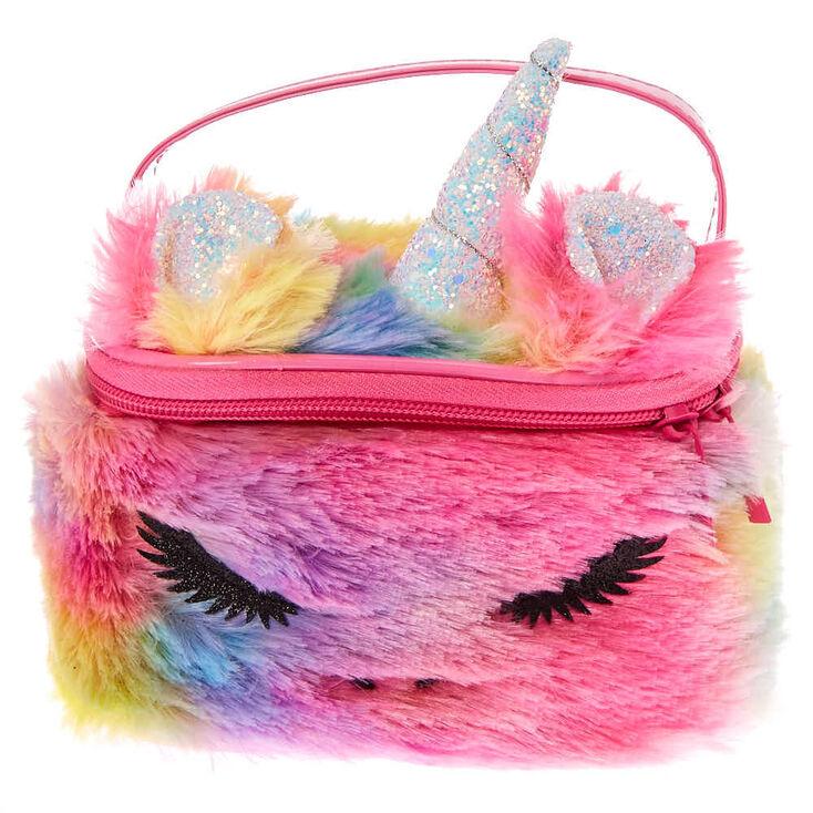 Furry Rainbow Unicorn Makeup Bag,
