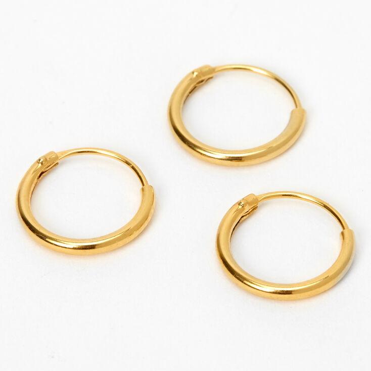 Gold Sterling Silver 22G Cartilage Hoop Earrings - 3 Pack,