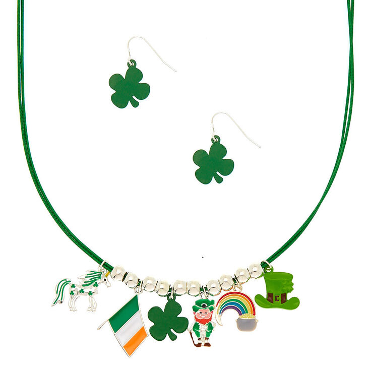 5bbdc53cc6d0 Silver Irish Charm Jewelry Set - Green, 2 Pack