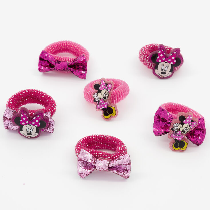 ©Disney Minnie Mouse Glitter Hair Bobbles – Pink, 6 Pack,
