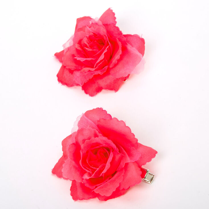 Mini Rose Hair Clips - Neon Pink, 2 Pack,