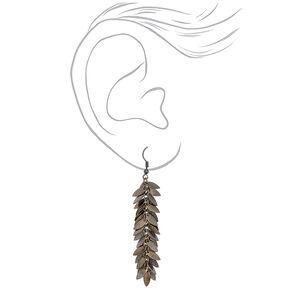 """Hematite 2.5"""" Leaf Cluster Drop Earrings,"""