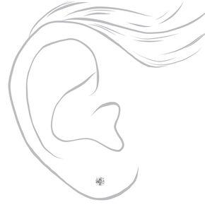 Mixed Metal Ball Crystal Pearl Stud Earrings - 9 Pack,