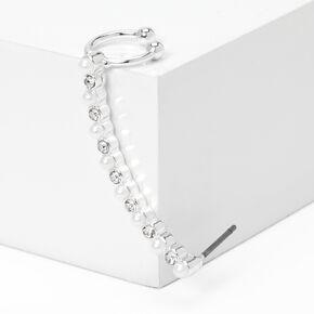 "Silver 2"" Crystal Pearl Ear Cuff Stud Earring,"