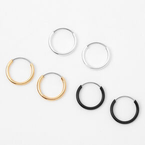 Mixed Metal 10MM Hoop Earrings - 3 Pack,