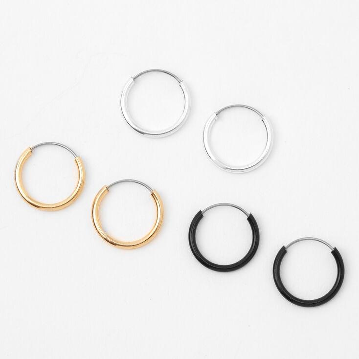 Mixed Metal 10MM Hoop Earrings - 3 Pack,