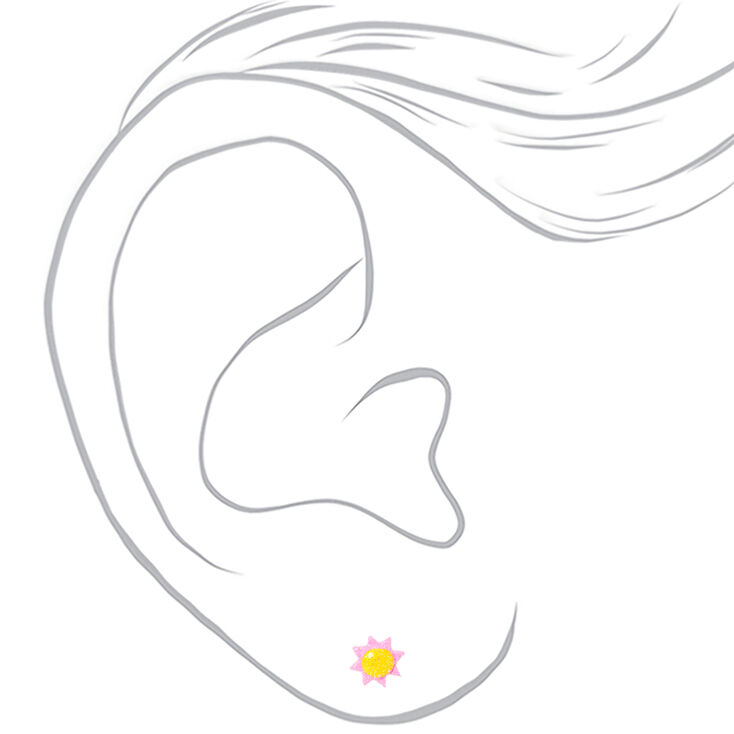 Silver Fun In The Sun Stud Earrings - 9 Pack,