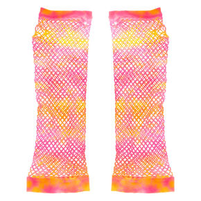 Tie Dye Fishnet Arm Warmers - Pink,