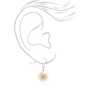 "Silver 1"" Glitter Pressed Daisy Drop Earrings,"