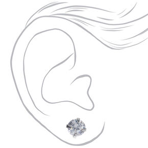 Silver Cubic Zirconia Round Stud Earrings - 6MM,
