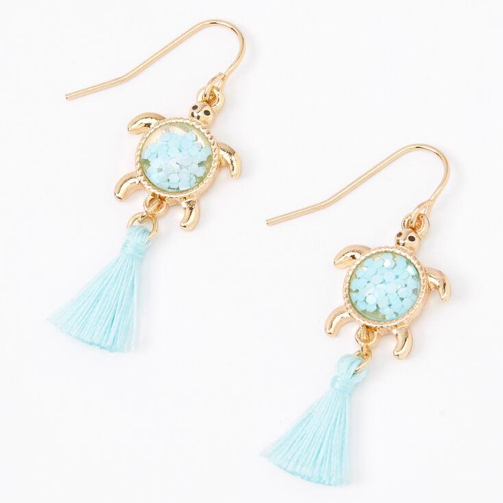"""Gold 1.5"""" Turtle Tassel Drop Earrings - Mint,"""